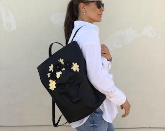 Skull  Backpack - Black leather Backpack - Skull Rucksack - Black Skull Bag - Skull Backpack