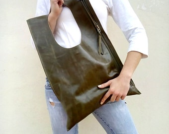 Leather bag Everyday bag Designers handmade bag Olive Zipper leather tote Leather bag Shoulder leather bag Fashion leather bag