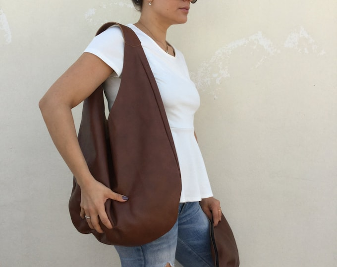 Leather bag/ Medium Leather bag/ Brown leather bag/ Shoulder hobo bag/ Hobo bag