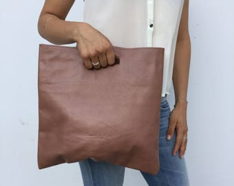 Nude leather clutch/ Chocolate brown Minimal leather clutch