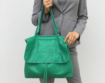 Leather shoulder bag/ Green tote leather bag/ Crossbody leather bag