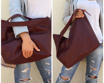 Leather tote, Tote leather bag, Burgundy leather bag, Tote bag, Leather tote women, Large tote bag