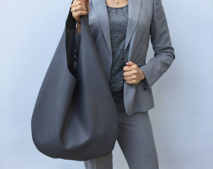 Leather bag/ Medium Hobo bag/ Grey Shoulder bag / Hobo bag/ Hobo bag