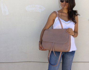 Leather bag/ Powder pink stamp bag/ Flop leather bag/ Cross-body leather bag