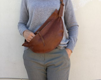 Leather Waist bag/ Brown leather waist bag