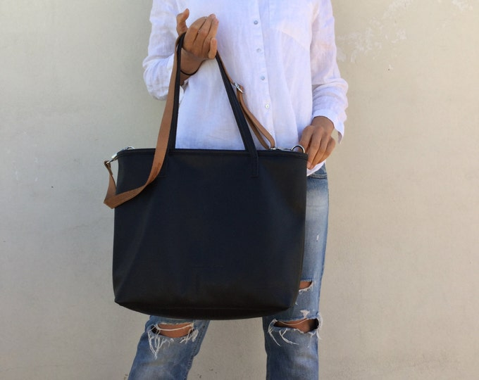 Black leather bag  Leather tote bag  Women tote bag Shopping leather bag