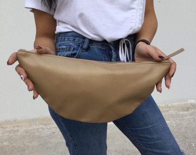 Gold Leather clutch/camel Minimal clutch/ Medium Autumn Pallet Clutches