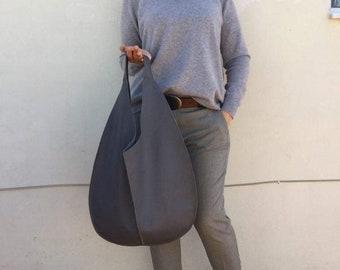 Hobo leather bag/ Grey leather hobo/  Dark Grey bag/ Oversized hobo bag