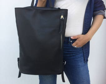 Simple  Leather Backpack/ Black leather Backpack/ Black Rucksack
