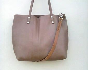 Leather tote bag,Tote leather bag,Nude leather crossbody bag , Leather woman bag,Tote leather bag, Shopping bag , Large tote bag