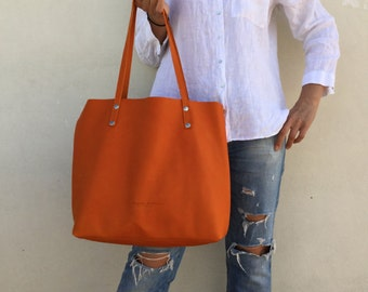 Leather tote bag/ Tote leather bag/ Orange leather tote/ Crossbody leather bag
