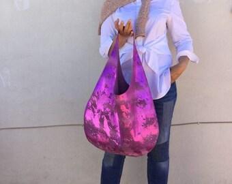 Hobo leather bag / Shiny Fuchsia Snake Print Shoulder bag /Oversized Hobo bag By Lara Klass