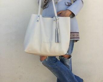 Leather tote bag/ Tote leather bag/ Tote large bag/ Ecru Tote bag