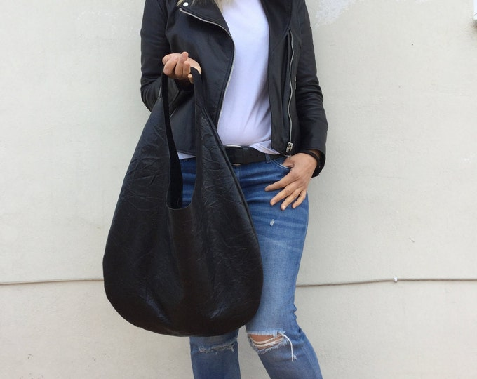 Leather bag/ Patent leather black bag/ Leather hobo bag/ Oversized hobo bag/ Black leather bag