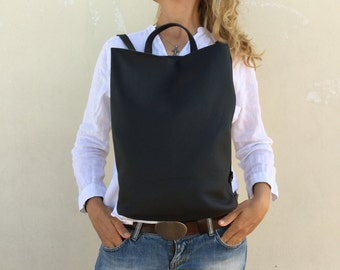 Leather Backpack Unisex backpack Black Leather Minimal Backpack