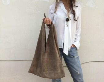Dark Beige Suede Oversized Leather angle hobo bag, Beige suede Large Hobo , Bow hobo bag