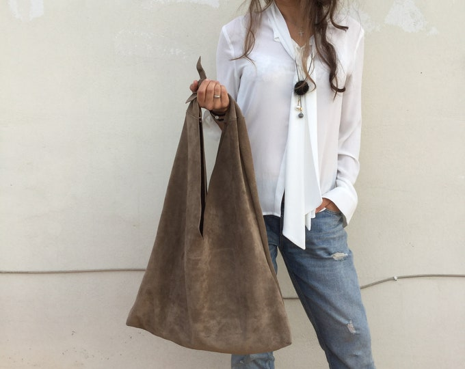 Featured listing image: Dark Beige Suede Oversized Leather angle hobo bag, Beige suede Large Hobo , Bow hobo bag
