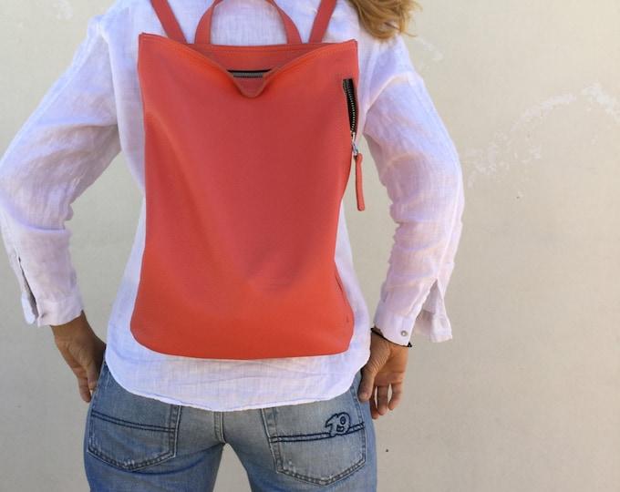 Leather backpack Peach Backpack Minimal backpack Women's bag Minimal backpack,