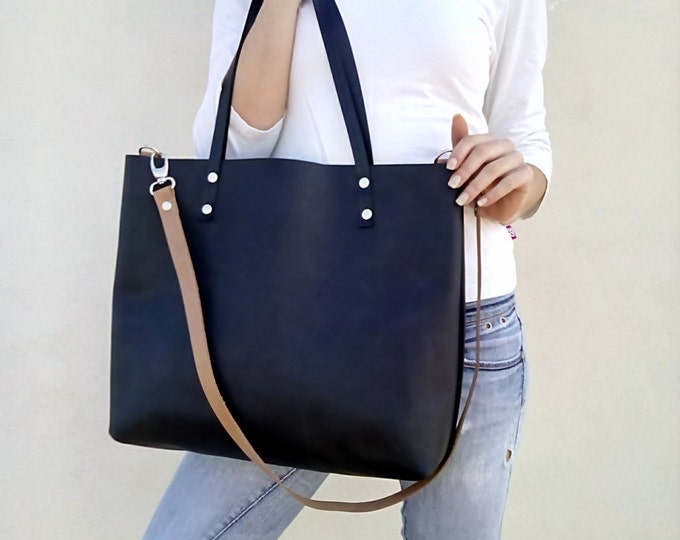 Leather tote bag/ Black leather bag/ Large tote/Shoulder leather bag