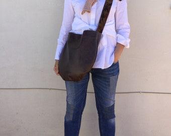Brown  Leather bag/ Leather hobo bag/ Medium leather bag/ Crossbody leather hobo