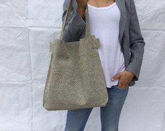 Leather Bag/ Beige print flower/ Shoulder leather bag/ Minimal leather bag