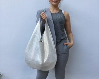 Hobo leather bag / Shiny Silver Shoulder bag /Oversized Hobo bag By Lara Klass