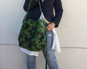 Hobo Leather Bag/ Tote leather bag/ Crossbody suedes bag/ Camouflage suedes bag