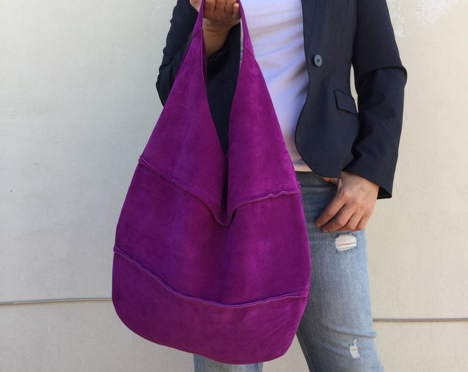 Leather bag/ Patchwork hobo/ Medium Leather hobo / Purple hobo bag