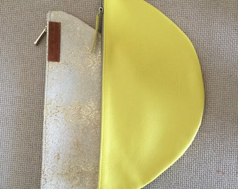 Large Leather Clutch, Woman's Yellow Leather Clutch Bag, Minimal clutch bag,leather clutch