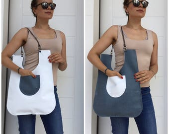 Leather tote bag / White tote bag / blue leather bag / Chain handles/ leather shoulder bag