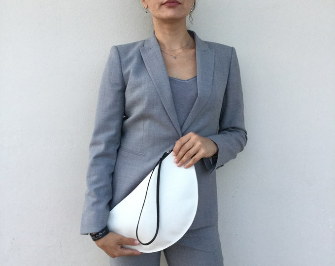 Large Leather Clutch, Woman's White Leather Clutch Bag, Minimal clutch bag,leather clutch
