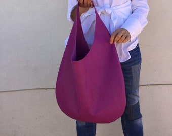 Hobo leather bag/ Purple Shoulder leather bag / Oversized Hobo bag/ Hobo bag By Lara Klass