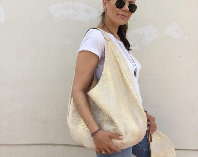 Hobo leather bag/  Shiny Gold Snake Print Ecru leather hobo/  Oversized hobo bag