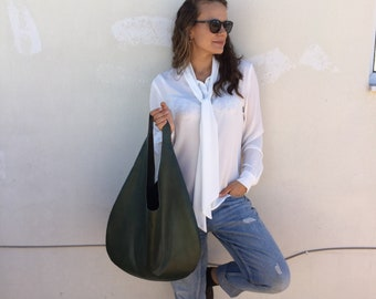 Leather hobo bag/ Dark green leather  bag/ Green  hobo bag/ Oversized hobo bag/ Minimal hobo bag