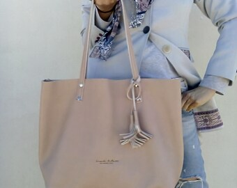 Beige leather bag/ Soft pink color/ Tote leather bag/ Shoulder leather bag/ Crossbody leather bag