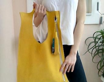 Leather bag/ Leather tote bag/ Yellow leather bag/ Modern bag/ Women's handbag