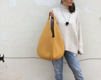 Leather bag/ Medium Leather bag/Dark Burgundy  bag/ Mustard Yellow hobo bag/ Shoulder Hobo leather bag
