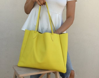 Yellow leather bag  Tote bag  Large leather tote  Shopping bag