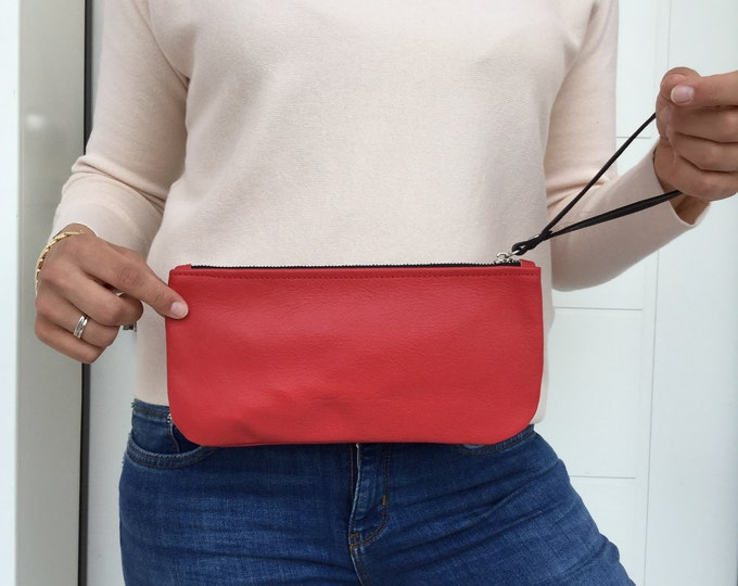 Leather Wallet, Leather Wristlclutch/ Red leather zipper clutch/ Cosmetics leather case/ leather wallet