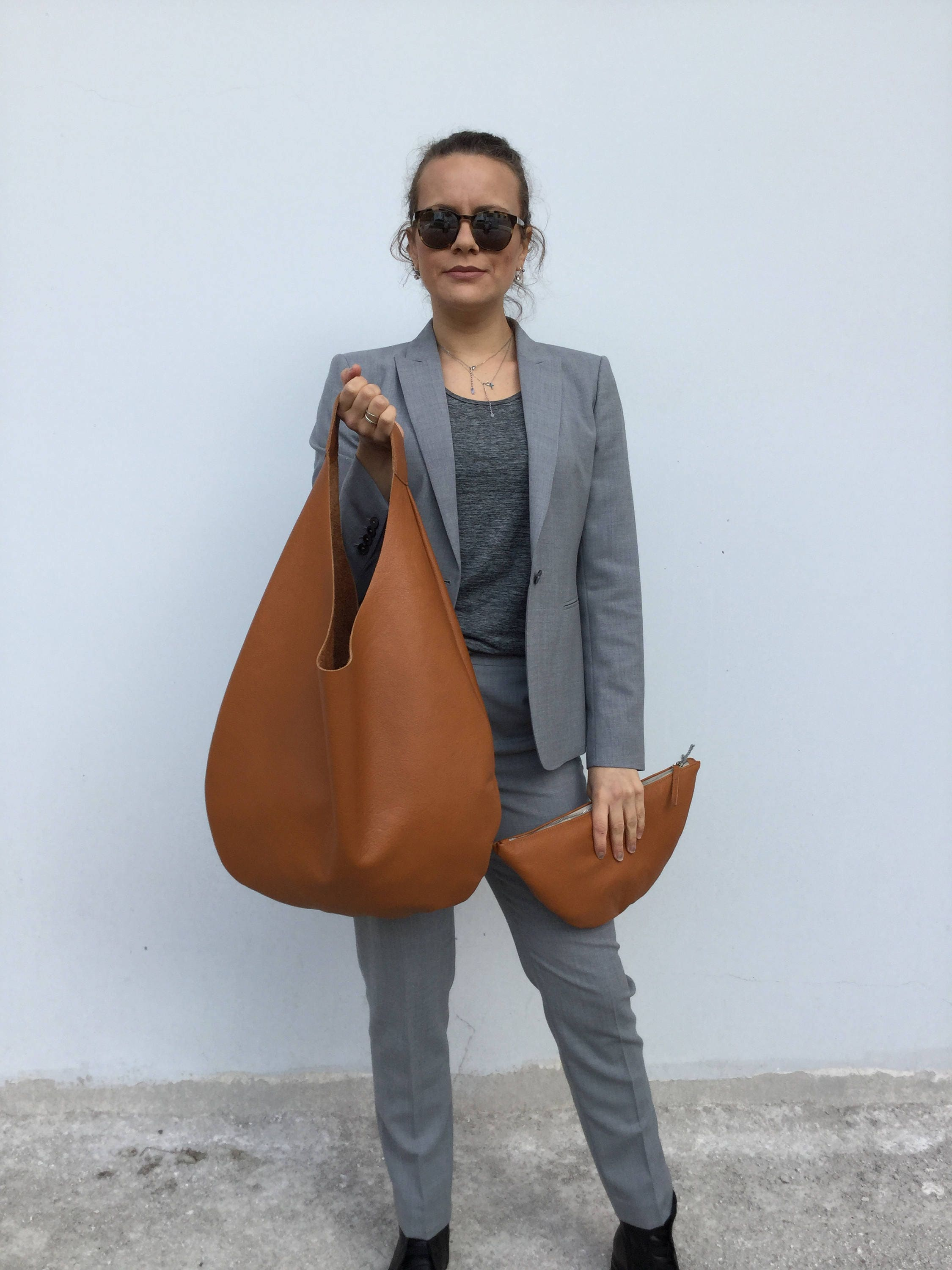 7c443b7732 ... leather bag  Oversized hobo bag. gallery photo ...