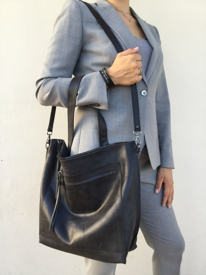 Leather Bag Black leather Tote Large leather shoulder tote Woman s Leather Crossbody Bag