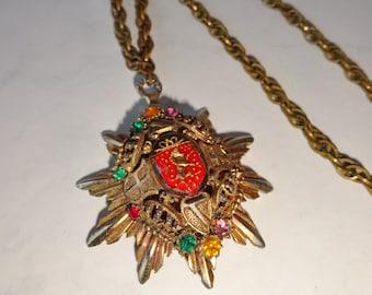 Vintage Coat Of Arms Necklace Medallion Pendant French Fleur de Lis