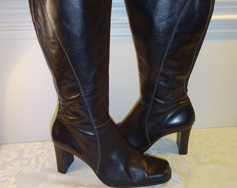0662803efa1a Vintage Anne Klein Boots Black Leather Boots 7.5 7 1 2 B Medium Zip Heels
