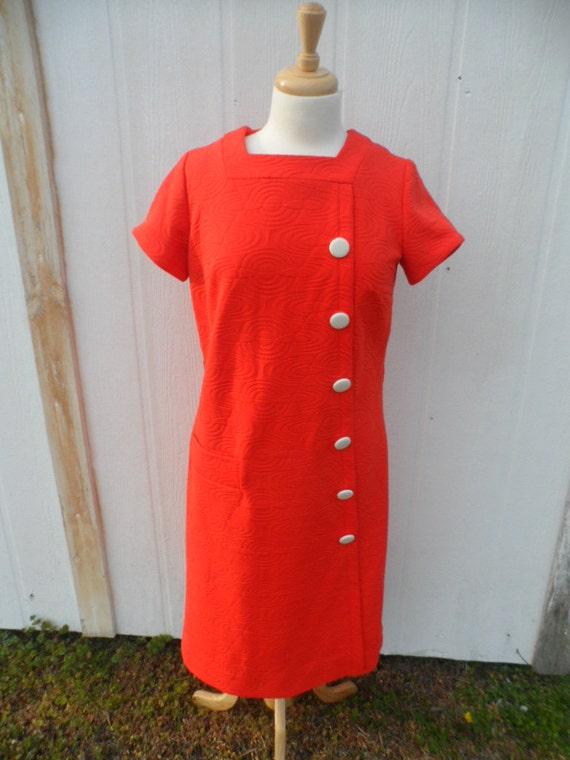 Vintage Orange Dress White Buttons Norman Wiatt Kn