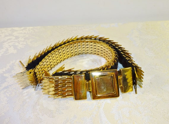 Vintage Belt Two Tone Gold Silver Fish Scale Metal Stretch Elastic ML