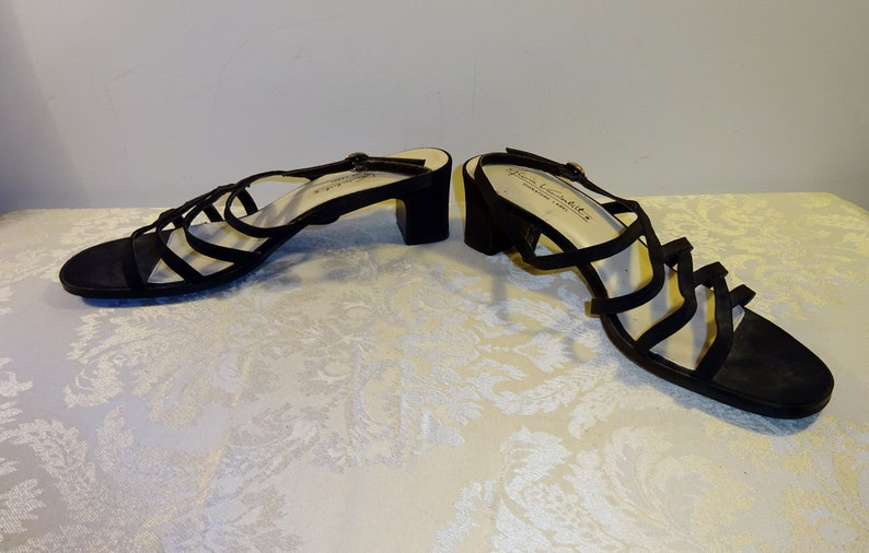 34013528fc047 Vintage Gloria Vanderbilt Sandals Black Satin Strappy Sandals 8 Medium  Signature Label Shoes