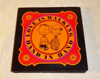 Vintage Peanuts Love Is Walking Hand in Hand Book Charles Schultz Hardcover Charlie Brown 1965