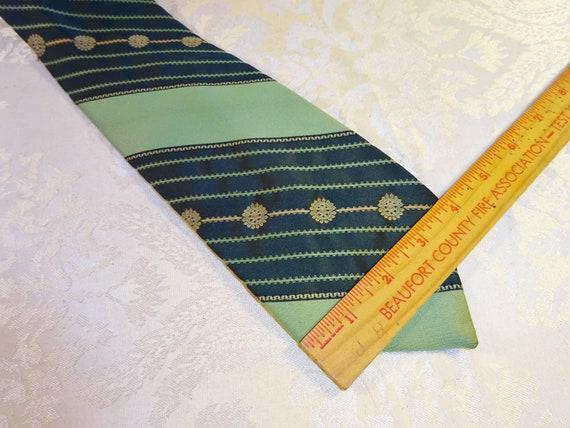 Vintage Green Tie Men/'s Necktie Tie Wide Striped Mod Polyester