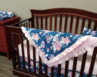 Girl Crib Bedding - Navy Coral Floral and Blush, Navy Coral Floral Nursery Set
