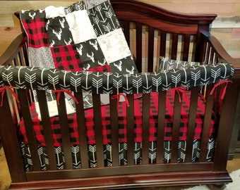 2 Day Ship - Boy Crib Bedding - Black Antlers, Black Arrows, Red Black Check, Ivory, and Gray, Antler Crib Bedding